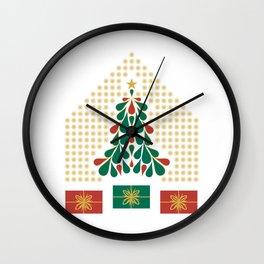 christmas tree present house star Wall Clock