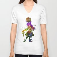 captain hook V-neck T-shirts featuring Captain Hook in watercolor by Paulrommer