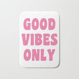 Good Vibes Only in Pink Retro Lettering Bath Mat