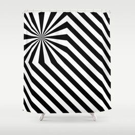 Stripes explosion - Black Shower Curtain