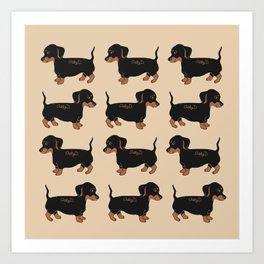 Black and Brown Dachshunds Pattern Art Print