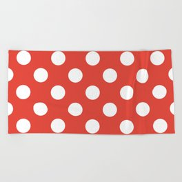Vermilion - red - White Polka Dots - Pois Pattern Beach Towel