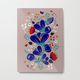 Folk Spring Flowers blooms - number1 Metal Print