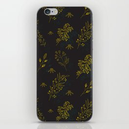 Thin delicate lines silhouettes of different plants. iPhone Skin