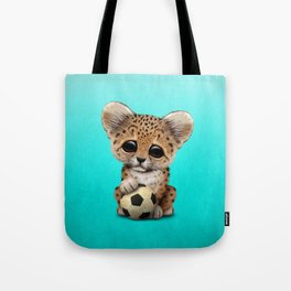 Leopard Cub With Football Soccer Ball Tote Bag