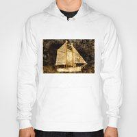 sailboat Hoodies featuring Golden Sailboat by Michael Moriarty Photography