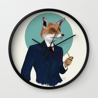 mr fox Wall Clocks featuring Mr. Fox by FAMOUS WHEN DEAD