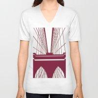 brooklyn bridge V-neck T-shirts featuring Brooklyn Bridge by Melinda Zoephel