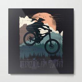 Fox Girl Biker Metal Print