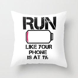 Run Smartphone jogging running Marathon gift gym fitness Sports Throw Pillow
