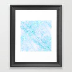 Blue Marble - Shimmery Turquoise Blue Sea Green Marble Metallic Framed Art Print