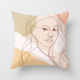 Line-art Portrait - Fierce Girl Power Throw Pillow
