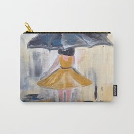 Beautiful Lady in Yellow in the Rain on Canvas Carry-All Pouch