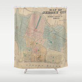 Vintage Map of Jersey City NJ (1879) Shower Curtain