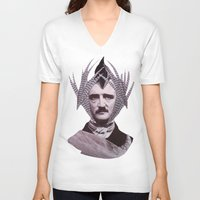 edgar allan poe V-neck T-shirts featuring EDGAR ALLAN POE by MELANCHOLIE (mit MONSTERN)