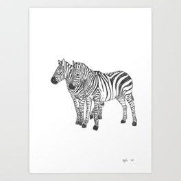 Zebra Friends Art Print