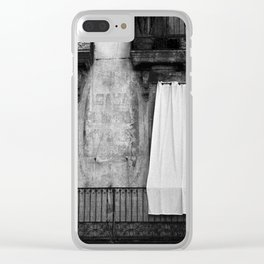 Black & white photo of white curtains on a balcony Clear iPhone Case