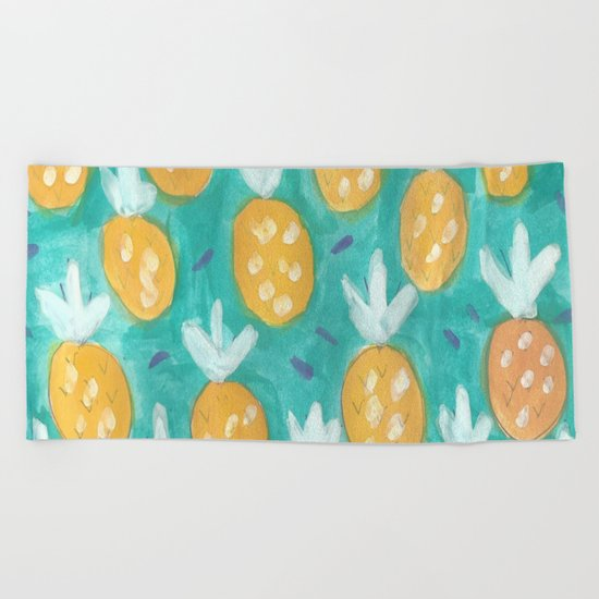 Fresh Pineapples Beach Towel