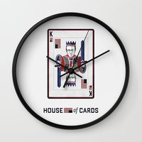 house of cards Wall Clocks featuring House of cards Playing card  by Lewys Williams