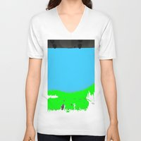 lonely V-neck T-shirts featuring Lonely by lookiz