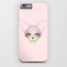 Sphynx Skull - Double Exposure - Pink and Green iPhone Case