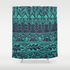 Mountain Tapestry in Midnight Teal Shower Curtain