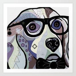 Sophisticated Beagle in Denim Colors Art Print