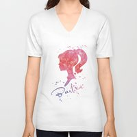 barbie V-neck T-shirts featuring Barbie by Carma Zoe