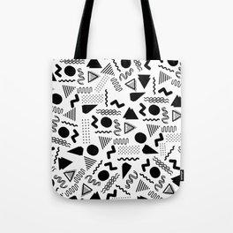 Retro abstract geometrical black white 80's pattern Tote Bag