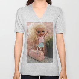 A doll waiting for a taxi Unisex V-Neck