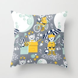 The cat who loves rainy nights Throw Pillow