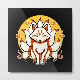 Japanese Kami Inari Fox Kitsune Shrine Mask Metal Print