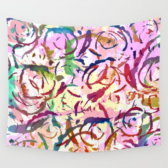 abstract roses silhouettes Wall Tapestry