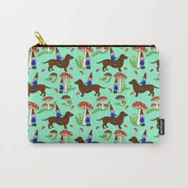 Gnome & Dachshund in Mushroom Land, Robins Egg Blue Background Carry-All Pouch