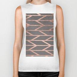 Rose gold chevron stripes geometric pattern on grey cement concrete Biker Tank