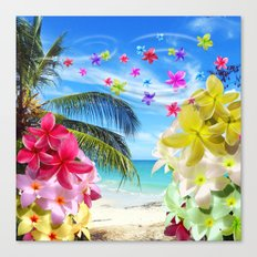 Tropical Beach and Exotic Plumeria Flowers Canvas Print