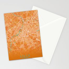 Lille, France, Gold, Blue, City, Map Stationery Cards