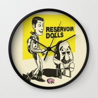 reservoir dogs Wall Clocks featuring reservoir dolls  by tshirtsz