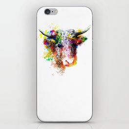Hand drawn bull, cow, bison, buffalo head face portrait with horns. Colorful cattle painting sketch iPhone Skin