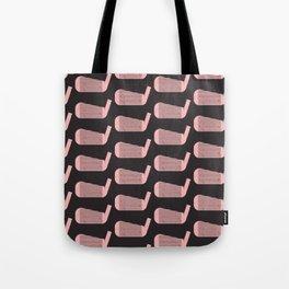 Golf Club Head Vintage Pattern (Black/Pink) Tote Bag