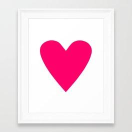 Neon Pink Heart Framed Art Print
