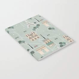 Paris Map Print Illustration Notebook