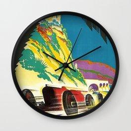 Vintage 1932 Monaco Grand Prix Racing Advertising Poster Wall Clock