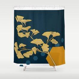 Gingko and hexagons Shower Curtain