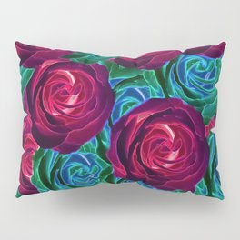 closeup blooming roses in red blue and green Pillow Sham