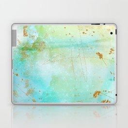 Aqua and Yellow Watercolor Wash With Faux Gold Glitter Laptop & iPad Skin
