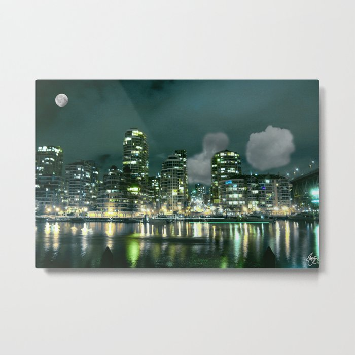 Blue Moon Over Vancouver Metal Print