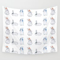 bunnies Wall Tapestries featuring Punk Bunnies by Lisa Bulpin