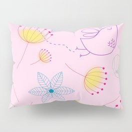 Pink Floral Pillow Sham