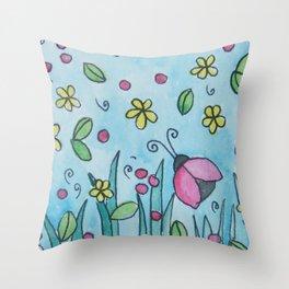 Ladybug, ladybug flyaway home art Throw Pillow